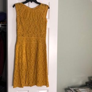 Mustard color lace midi dress